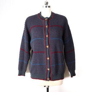 vintage irish hand loomed wool cardigan sweater